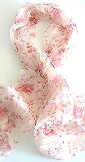 丝绸沙龙 Oblong * 丝绸围巾手工卷边花卉雨日落 A501
