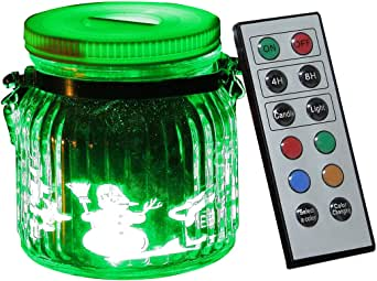 Candle Choice Living 罐,室内室外带电池的罐装灯,带遥控和计时器,雪人和房子设计