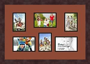 Art to Frames 双多衬垫-354-766/89-FRBW26061 拼贴框架照片垫双衬垫 3-8.89x12.7 和 3-4x6 开口和咖啡色相框