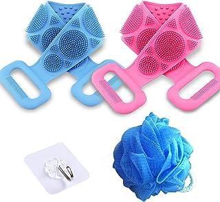 硅胶身体刷,2 件装淋浴用背部刷子,双面身体浴巾清洁淋浴带,硅胶沐浴刷,27 英寸