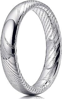 Three Keys Jewelry 8mm 6mm 4mm 大马士革男士婚戒木纹粗体手工锻造凹槽戒指