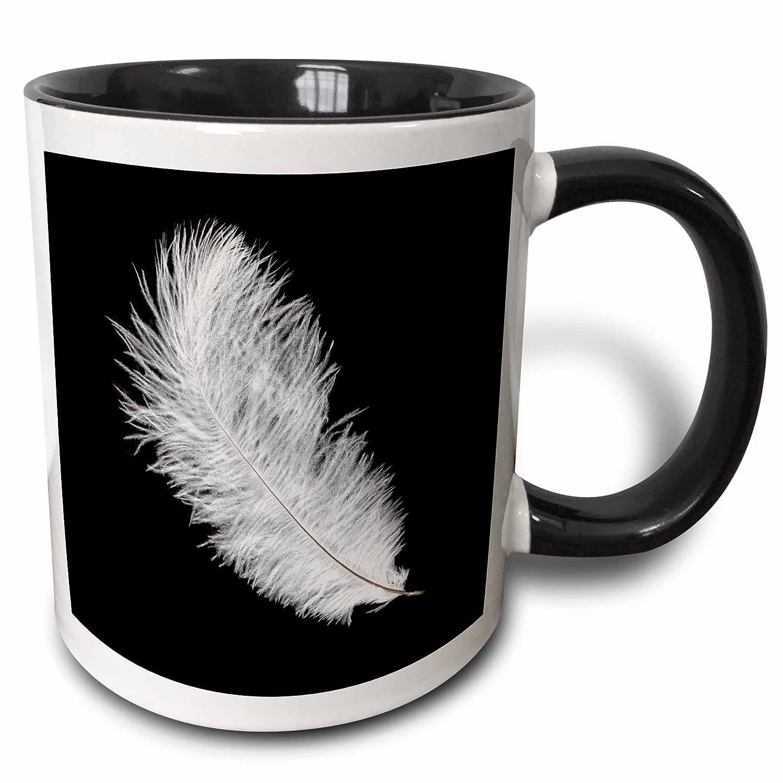3drose janna salak 设计印花和图案 - 黑底白羽毛 - 马克杯 黑色 11图片