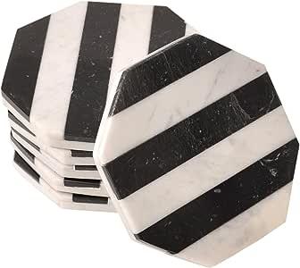 CraftsOfEgypt 6 件套白色大理石杯垫 – 八边抛光杯垫 – 直径 3.5 英寸 (9 cm) – 防饮料环 Black \ White 6 件套