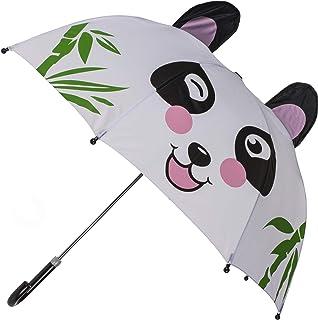 OOTB 儿童涤纶微笑熊猫雨伞,28.34 英寸 x 27.55 英寸