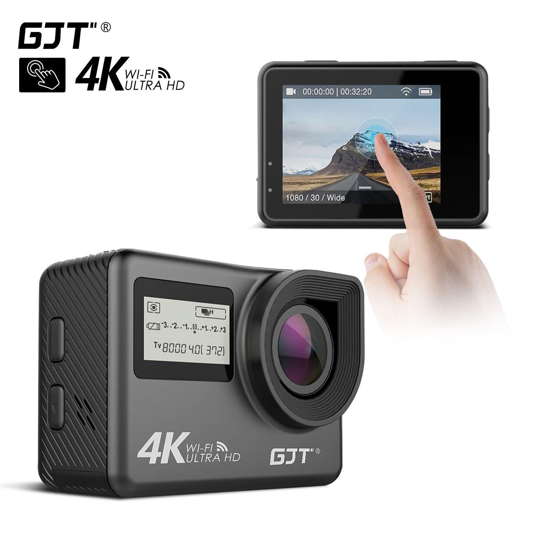 GJT GP1Rモーションカメラ移動のWiFi 4Kカメラは12万画素の超高精細カメラ30M防水DVカメラ、2インチLCDスクリーン、170度リモコン付き広角レンズ、868950 GC1 2x1350mAh電池