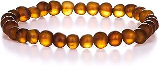AMBERAGE 天然波罗的海琥珀手镯成人(女式/男式)- 纯手工制作 未抛光/经认证的波罗的海琥珀珠(6 种颜色)