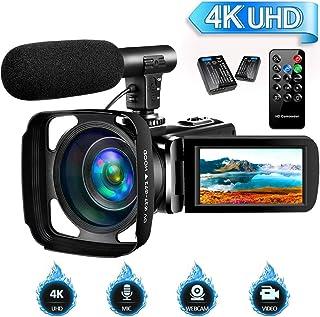 SAULEOO 视频摄像机摄像机数码摄像机超高清视频摄像机带遥控器,3 英寸屏幕