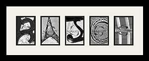 Art to Frames LetterArt-rasch-167064-61/89-FRBW26079 字母艺术/字母摄影框 - RASCH - 带 5-4x6 开口。 黑色缎面框架
