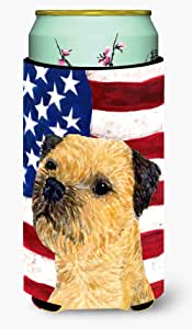 USA American Flag with Border Terrier Michelob Ultra Koozies for slim cans SS4247MUK 多色 Tall Boy