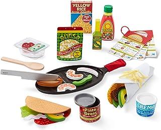Melissa & Doug 填充和折叠 Taco & Tortilla 套装,43 件 - 可切片式墨西哥玩具食品,长柄刀等