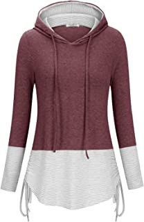 Cyanstyle 女式基本款可爱轻质套头拼色条纹连帽衫舒适秋季运动衫