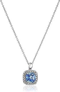 Myia Passiello 永恒光光环垫切割蓝色吊坠项链,40.64 厘米 + 5.08 厘米延长链