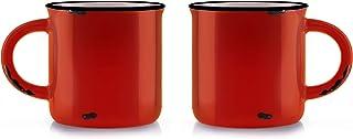 Duck House 复古咖啡杯 带仿旧标记 Pro| 级陶瓷,396.89 毫升,2 件套 橙色 14 盎司 LCEV001OR-2