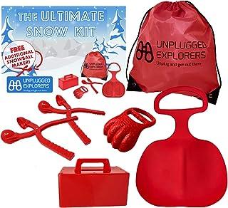 Unplugged Explorers 6 pc. Ultimate Snow 玩具套装,冬季运动 - 1 个红色雪橇,积雪机挖雪模具,2 个雪球制作器(1 个免费)1 个超大冬季玩具收纳盒