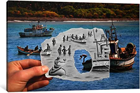 iCanvasART BHE11-1PC3-18x12 Pencil Vs Camera 2 AOC-Mermaid Canvas Print by Ben Heine, 0.75 x 18 x 12-Inch