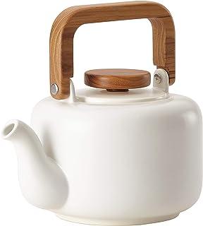 BonJour 47469 8 杯陶瓷茶壶,哑光白色