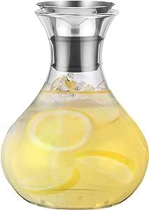 chefoh 玻璃壶带 EZ POUR drip-free 不锈钢/SILICON 盖子和76.2cm 奶瓶清洁刷 透明 50盎司