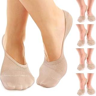 No Show Socks 女式平底鞋或男士乐福鞋防滑竹纤维 4 双