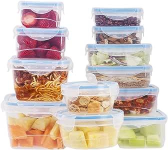 24 个可重复使用的厨房容器,带通风盖 – 塑料食品容器 – 微波炉容器 Blue Lids