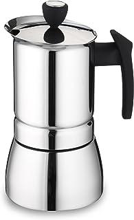 Grunwerg 咖啡壶 9 杯意大利风格不锈钢咖啡机 银色 6 Cup SSICM-06