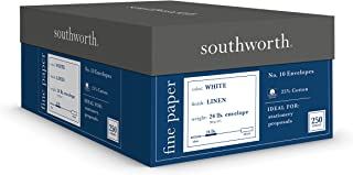 "Southworth 24% Cotton #10 Envelopes, 4.125"" x 9.5"", Linen Finish, White, 250 Envelopes (J554-10)"
