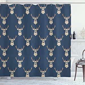 Deer Shower Curtain by Ambesonne, Hipster Inspired Deer with Antlers Glasses Mustaches Funny Animal Pattern Vintage, Fabric Bathroom Decor Set with Hooks, 84 Inches Extra Long, Slate Blue Tan