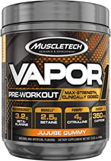 Muscletech Vapor One Pre Workout Powder, One Scoop Formula with Betaine HCL, Creatine and Beta Alanine to Boost Energy & Amplify Muscle Building, Jujube Gummy, 20 Servings (14.8oz)