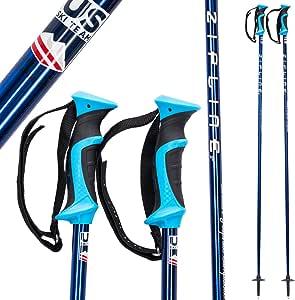 """Zipline Ski Poles 碳复合材料石墨铬 - 美国 Ski Team 官方供应商 - 全新镀铬表面 - 3 种颜色选择 34"""" in./85 cm LollipopJr"""