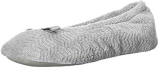ISOTONER 女式 Chevron Microterry Ballerina House 拖鞋吸湿排汗和绒面革鞋底,非常舒适