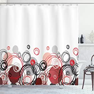 Abstract Shower Curtain by Ambesonne, Horizontal Stripe Design and Geometric Circles Rounded Shapes Art Illustration, Fabric Bathroom Decor Set with Hooks, 75 Inches Long, Black Red Grey
