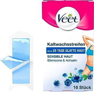 Veet薇婷 冷脱毛蜡纸 Easy-Gelwax科技 比基尼区和腋下敏感肌肤适用 1盒(1×16片)