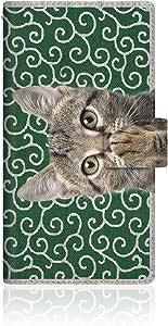 NYAGO x CaseMarket 【手册式】 SC-04F GALAXY S5 皮革 细长 壳 针脚模型 [NYAGO 笔记本 可爱 把肉球涂抹起来吧~ - 猫和风 猫~。] 皮革手册 2016 NEW 缝合 & 挂绳孔SC-04F-VCM2S2449 唐草模様 緑
