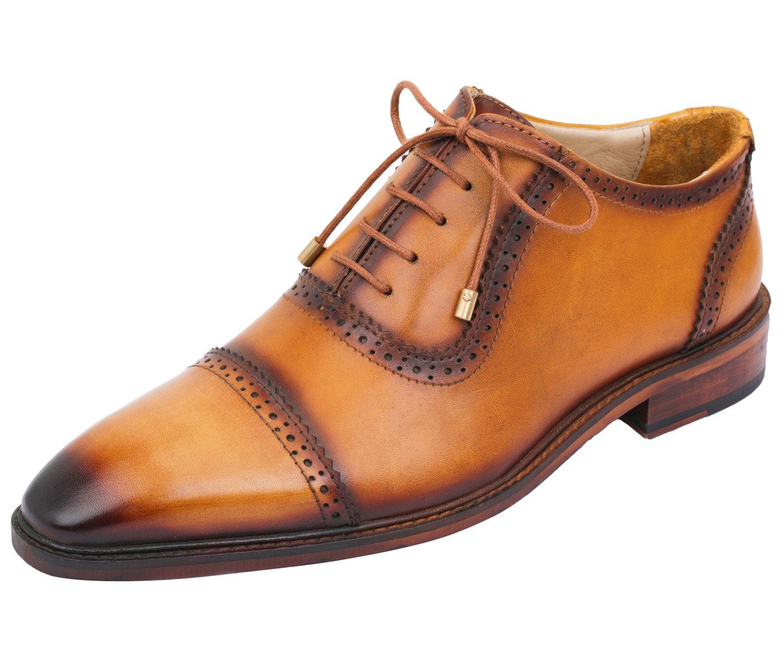 手作りのメンズレザーレースキャップトウオックスフォード靴Lethato、agletのレース、ゴールド・ハードウェア・靴ひも