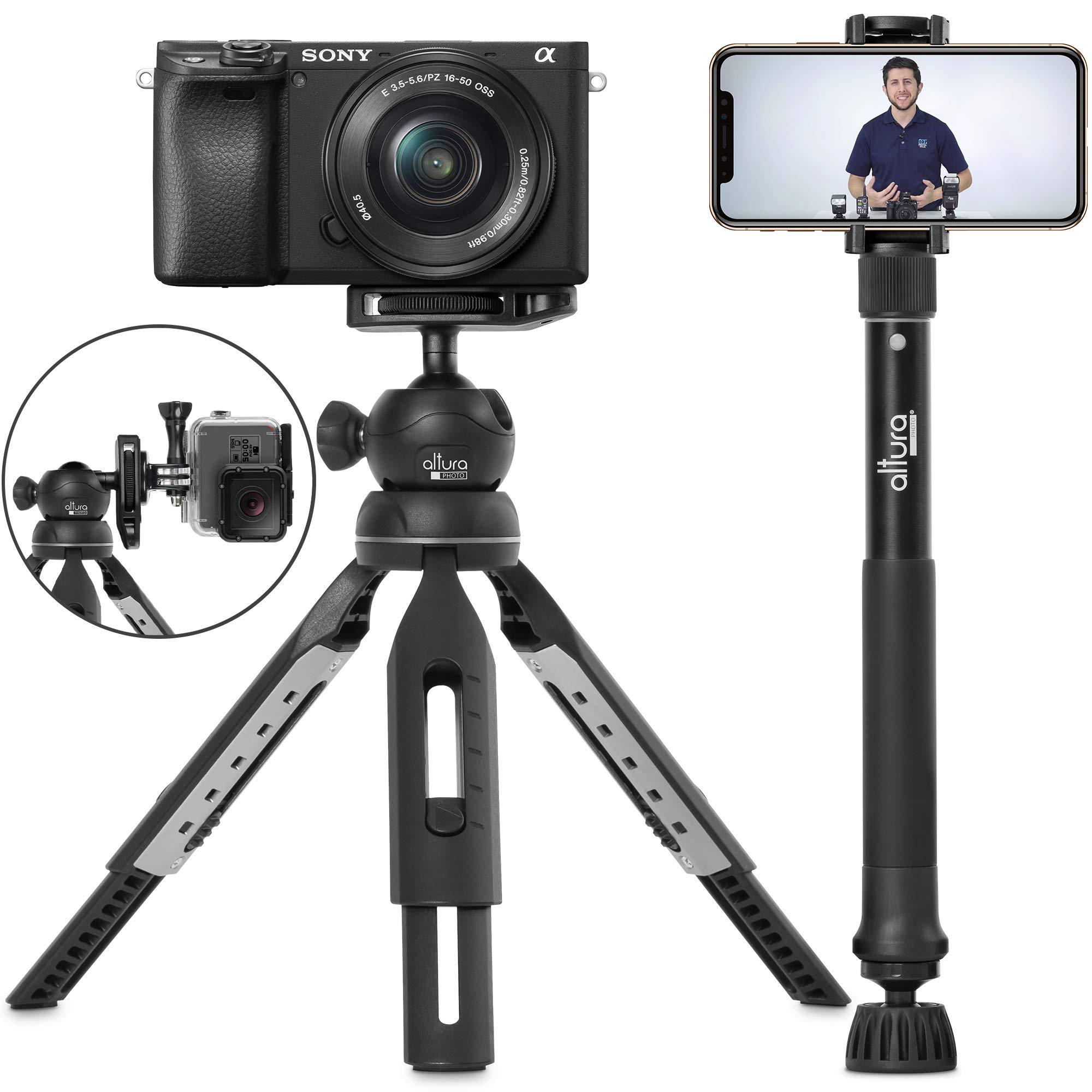 6 合 1 单脚架三脚架套装 Altura Photo 出品 - 通用 55 英寸伸缩数码单反相机、GoPro、手机支架自拍杆,带三脚架底座,360 球头和便携包