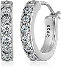 "Sterling Silver Swarovski Zirconia 1/2"" Round Hoop Earrings (3/4 cttw)"