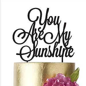 """生日蛋糕装饰,You are my sunshine,生日派对,蛋糕装饰,蛋糕装饰,婴儿蛋糕装饰,阳光蛋糕装饰,周年纪念 金色镜子 width 6"""""""