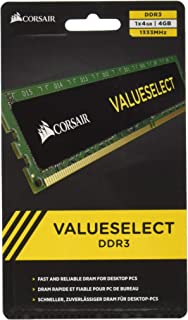 Corsair CMV16GX3M2A1333C9 Value Select 16GB (2x8GB) DDR3 1333 Mhz CL9 主流台式机内存套件CMV4GX3M1A1333C9  4GB (1x4GB)