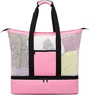 BLUBOON 网眼沙滩手提包 带冷却隔热可拆卸野餐泳池包 Xl Pink One_Size