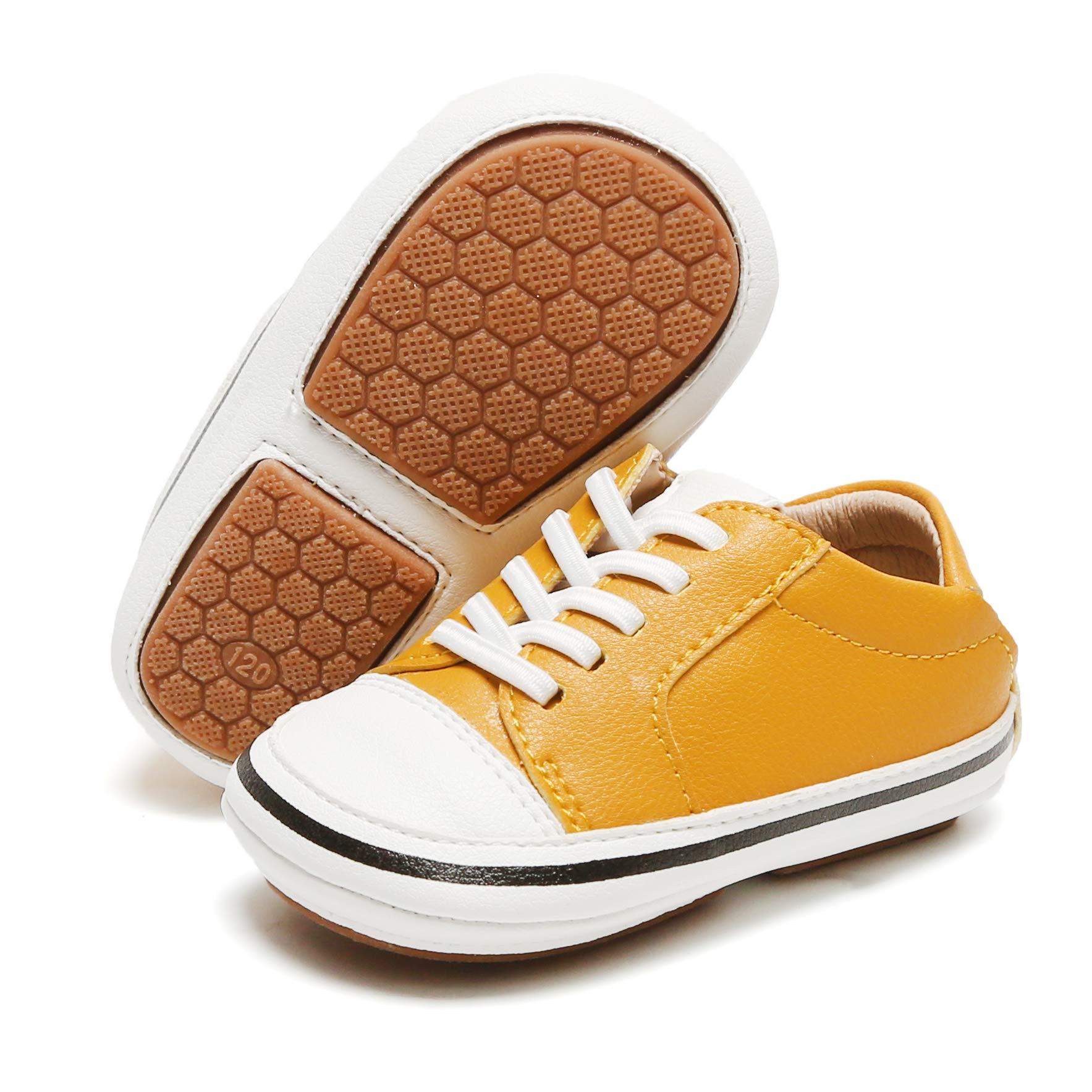 クマモールの赤ちゃんの女の子の赤ちゃんの靴はラバーソールレザーベビーシューズスポーツウォーキングシューズを