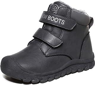 L-RUN 儿童及踝雪地靴男孩女孩防滑冬季靴户外靴