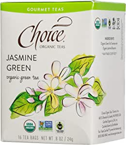 Choice Organic Teas Gourmet Green Tea, Jasmine Green, 16 Count, Pack of 6