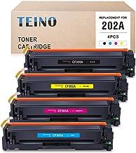 TEINO 兼容硒鼓替換件適用于 HP 202A CF500A CF501A CF502A CF503A 適用于 Color Laserjet Pro MFP M281fdw M281cdw M254dw M280nw(黑色,青色,洋紅色,黃色,4 件裝)