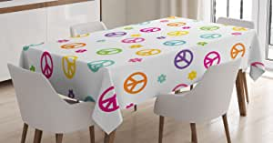 Groovy Decorations Tablecloth by Ambesonne, Peace Symbol Old Lifestyle Sign Slogan Celebration Merry Jolly Theme Artful, Dining Room Kitchen Rectangular Table Cover, 60 X 90 Inches