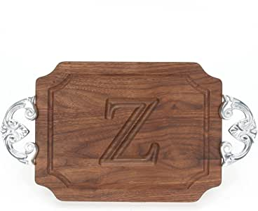"""CHUBBCO W300-CL-Z Bar/Cheese Board with Classic Cast Aluminum Handle with Scalloped Corners, 9-Inch by 12-Inch by 0.75-Inch, Monogrammed """"Z"""", Walnut"""