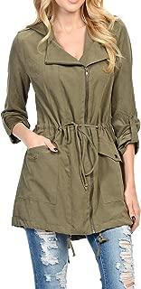Auliné Collection 女士桃皮不对称带腰带轻便防雨夹克