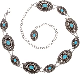 女式西式椭圆形绿松石装饰链带