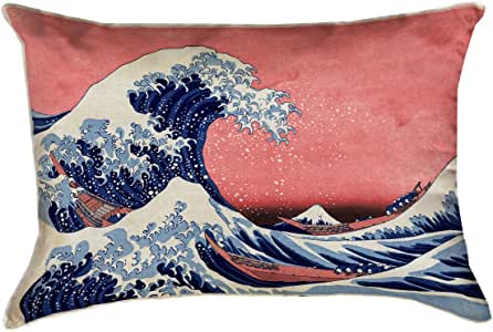 ArtVerse Katsushika Hokusai the Great Wave 蓝色和红色 x Pillow-Spun 涤纶, 14 英寸 x 14 英寸 14 英寸 x 20 英寸 HOK025P1420A