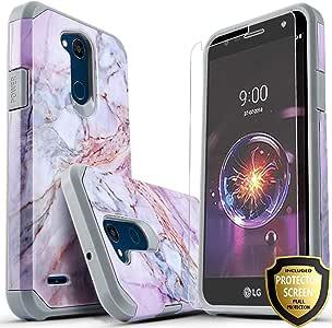 LG X Power 2 手机壳,LG Fiesta LTE 手机壳,Starshop [超薄盔甲] 混合双层坚固冲击高级装甲软硅胶手机壳,带【含优质高清屏幕保护膜】4334988497 大理石图案