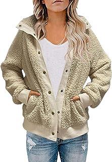 MEROKEETY 女式冬季长袖纽扣夏尔巴夹克外套口袋保暖羊毛