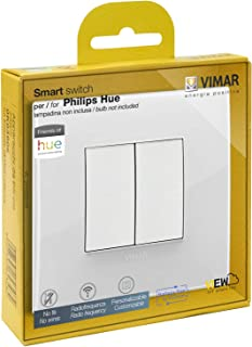 VIMAR 0K03906.05 Arké Classic Friends of Hue 智能开关套件,无电池无线灯开关,调光开关套件包含双盖板、安装框架、开关和 2 个按钮
